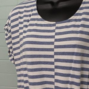 J crew blue and white striped dress XL
